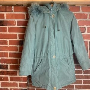 London Fog Puffy Hooded Front Zip & Button Winter Jacket Size Small Blue/Green